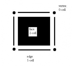 Cell decomposition of the pixel. The edges and vertices may be shared with adjacent pixels.