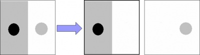 A gray scale image and its two objects represented as gray scale images.