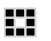 Cell decomposition of an image with 8 pixels arranged in a square.